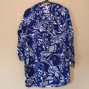 Lilly Pulitzer Captiva Tunic Blue Spectrum XS